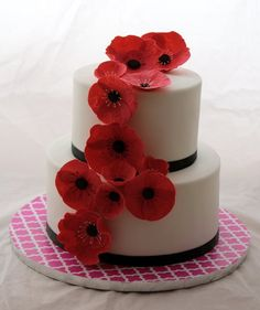 Red Poppy wedding cake.....maybe with peach or similar color flowers