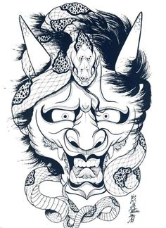 japanese hannya mask tattoo designs by horimouja outline stencil