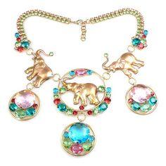 Three Elephants Necklace. Superb rhinestone Indian style necklace.$64.90
