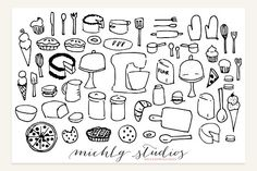 Baking Clipart Vector & PNG Graphics This listing includes:26 PNG Thanksgiving, fall clip art graphics (black with transparent backgrou by michLg studios