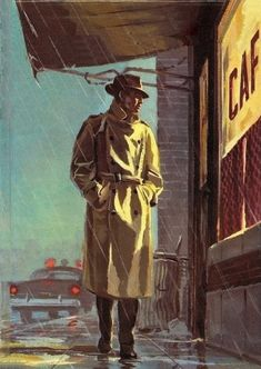 Film Noir Detective in the Rain Retro Art, Vintage Art, Arte Pulp Fiction, Illustrations, Illustration Art, Detective Aesthetic, Art Noir, Gangster, Hp Lovecraft