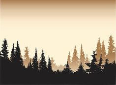 Forest Silhouette, Mountain Silhouette, Silhouette Vector, Sunset Tattoos, Nature Tattoos, Tree Line Tattoo, Black And White Art Drawing, Art Assignments, Mountain Drawing