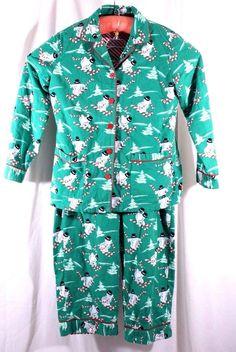 Nick & Nora Size M Flannel Christmas L/S Sleep Pajamas Snowman Skiing #NickNora #PajamaSets