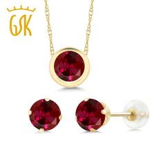GemStoneKing 3.00 Ct 6mm Round Red Created Ruby 14K Yellow Gold Pendant Earrings Women Luxury Jewelry Sets //Price: $US $172.04 & FREE Shipping //     #hashtag2