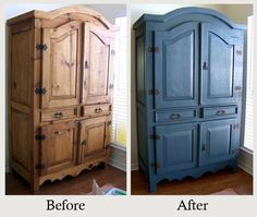 """Furniture Makeovers: The Power of Paint - The look of this boring pine armoire earned it the name """"beastly"""". Painting it in just the right blue completely updated it. More photos and details here."""