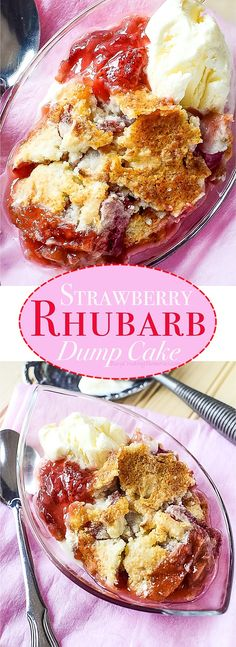 Only the perfect Summer treat with the magical Strawberry Rhubarb Dump Cake recipe. It gives you the magic of a Strawberry Rhubarb Pie, in the fun cobbler form, but much easier to make with a dump cake! (easy desserts to make stevia) Rhubarb Dump Cakes, Rhubarb Desserts, Köstliche Desserts, Delicious Desserts, Dessert Recipes, Rhubarb Rhubarb, Strawberry Rhubarb Cobbler, Easy Rhubarb Recipes, Rhubarb Dishes