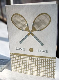 Tennis Love letterpress greeting card, gray, taupe, valentine's day, masculine