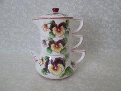 Vintage Lefton Stacking Teapot - Teapot, Sugar, Creamer Stacking
