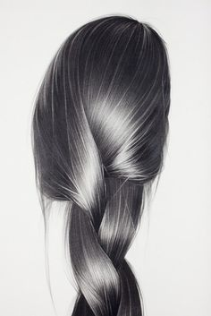 Lighter areas of gray are used to show highlights in the hair, and darker grays show low-lights and shadows.