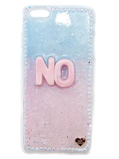 Handcrafted ombre blue & pink phone case for both iPhone's & Galaxy's with iridescent rhinestone border.