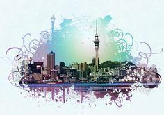 Auckland Skyline Evening Glow by Pam Clarke at Fantail Digital Art