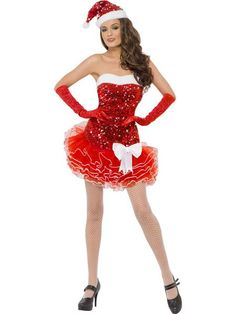 Fever Santa Sequin Costume, Red, Tutu Dress with Clear Detachable Straps and Hat, in Display Bag Sexy Outfits, Sexy Dresses, Fashion Dresses, Christmas Fancy Dress, Christmas Lingerie, Christmas Costumes, Halloween Outfits, Halloween Clothes, Halloween Costumes