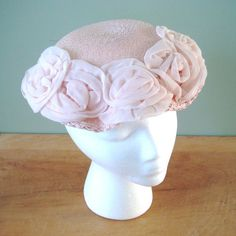 1950s Pink Hat, Pink Straw Pamela Hat with Chiffon Flower on Ruffled Brim For Marshall Field & Co., Vintage Spring Easter Hat