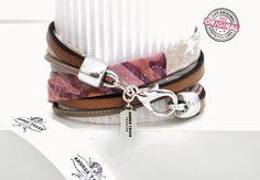 Armband gewickelt aus Stoff und Leder in Kombination in beige & silbernem Anhänger und Verschluss Wickelarmband für Frauen