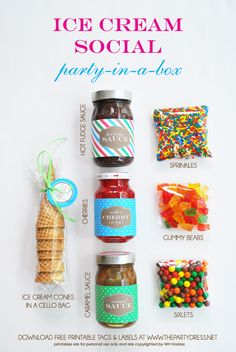 """Contents of ice cream social """"party-in-a-box"""" idea from @WH Hostess  #thepartydressmagazine #freedownload"""