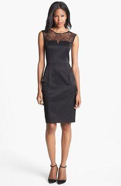 Aidan Mattox Lace Yoke Jacquard Peplum Sheath Dress available at #Nordstrom