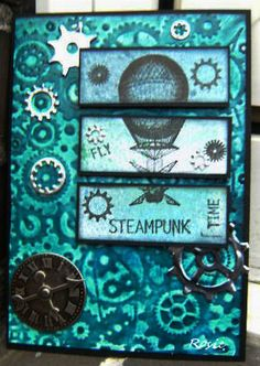 steampunk card with 3 MOOcards on it!