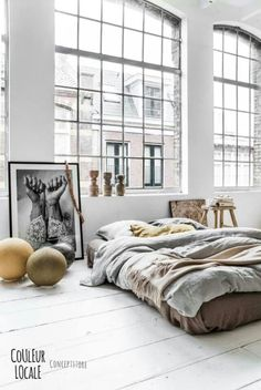 Couleur Locale - via Coco Lapine Design / big windows / bed on the floor / art Home Living, Living Spaces, Living Room, Luxury Living, Loft Industrial, Industrial Design, Industrial Windows, Industrial Lighting, White Industrial