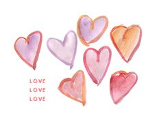 Free Watercolor Hearts Clip Art + Free Love Printable • Little Gold Pixel