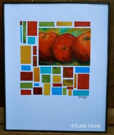 Colorful Collage with Apple paint extra pieces with the same colors as in apple still life