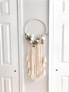 Items similar to SALE - Daydreamer' Boho Chic Driftwood + Doily Dreamcatcher Wall Hanging on Etsy Pom Pom Crafts, Yarn Crafts, Diy And Crafts, Decor Crafts, Dream Catcher Nursery, Dream Catcher Boho, Boho Nursery, Nursery Wall Decor, Decor Mural