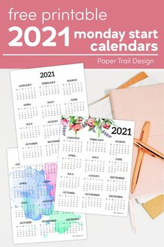 Plain, floral, or watercolor design Monday start 2021 wall calendar to help you stay organized and on top of your schedule. #papertraildesign #calendar #calendars #cutecalendars #organize #organization #freeprintable #freeprintables