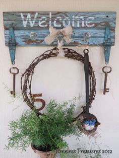 Timeless Treasures: Weathered Boards.Barbed Wire Rusty Junk Welcome Sign