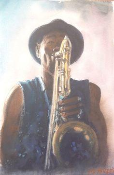 "Soul Of Saxophone //Original Watercolor Painting  12"" X 8"" NOT A PRINT  | eBay"