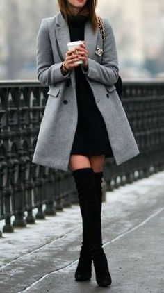 Classy Elegant Going Out Thigh High Boots Outfit Ideas for Women Fall or Winter - Elegantes ideas para ropa de otoño o invierno para mujeres - www. ideas fall classy Trending Women's Thigh High Boots Outfit Ideas for Fall or Winter 2018 Paris Outfits, Winter Fashion Outfits, Mode Outfits, Fall Winter Outfits, Look Fashion, Autumn Fashion, Summer Outfits, Christmas Outfits, Paris Winter Fashion