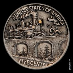 "Hobo Nickel ""Old Fashioned Marathon"" engraved by Aleksey Saburov."