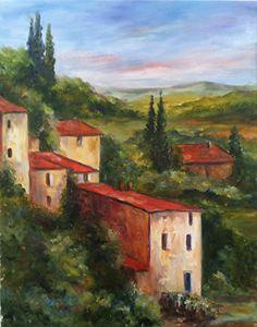 "Tuscan Hillside II by Cynthia Howard Oil ~ 14"" x 11"""