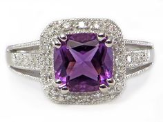 Cushion Cut Amethyst & Diamond Solitaire Ring 10k White Gold #CushionAmethyst #BlackFriday