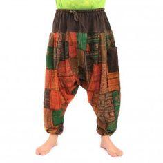 ॐ Aladin patchwork pantalons avec élastique coton avec poche latérale