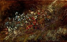 A Bouquet of Summer Fruits and Fowers on a Mossy Bank, Olga Wisinger-Florian. (1844-1926)