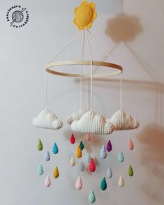 Baby Mobile Ideas Baby Crochet Mobile Cloud For 2019 Crochet Baby Toys, Crochet Gifts, Baby Knitting, Knit Crochet, Crochet Afghans, Crochet Blankets, Mobiles En Crochet, Crochet Mobile, Baby Ballon