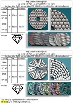 """High End Dry Polishing Pad  Top quality by high-end formulation for white stones. """"No bleeding at all on any white stones"""" . Engineered Stone, White Stone, Granite, Countertops, Plane, Stones, Marble, Vanity Tops, Airplane"""