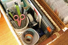 Ideas to get organized for Project Life. How to set up simple storage and organizing systems so you can do Project Life in a small area like a family room.