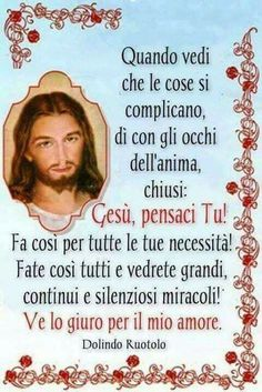 Quando vedi che le cose si complicano: Gesù pensaci tu Mantra, Good Night Blessings, Guard Your Heart, Divine Mercy, Spiritual Thoughts, Thank You God, Prayer Quotes, Blessed Mother, Madonna