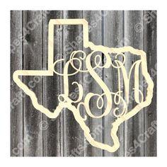 Texas Monogram Door Hanger Unfinished Wooden by Shapes4Crafts