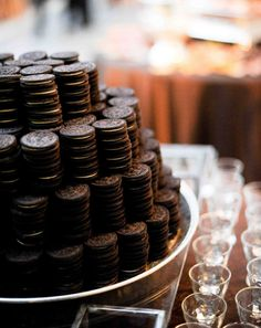 oreo pyramid with milk shots - fun idea!!