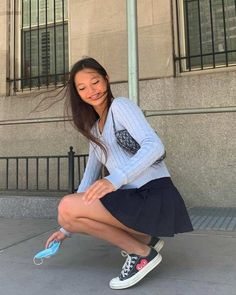 Black Pleated Skirt Outfit, Pleated Tennis Skirt, Tennis Skirts, Lily Chee, How To Pose, Aesthetic Clothes, Aesthetic Style, Aesthetic Fashion, Cute Outfits