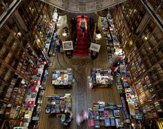 """Inside """"Lello & Irmão"""" book shop in Porto, Portugal"""