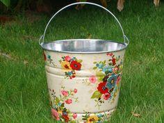 decoupaged galvanized bucket