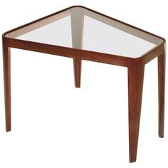 Preowned Rare Edward Wormley For Dunbar #4809 Trapezoid Table ($4,250) ❤ liked on Polyvore featuring home, furniture, tables, accent tables, multiple, mahogany end table, glass top side table, second hand furniture, dunbar and mahogany table