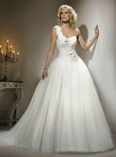 One shouldered wedding dress
