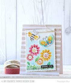 Fly-By Friends, Fly-By Friends Die-namics, Watercolor Stripes Background, Stitched Mini Scallop Rectangle STAX Die-namics - Yoonsun Hur  #mftstamps