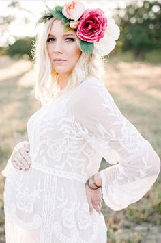 Gorgeous white lace maternity gown. Sizing One size fits most