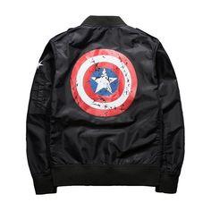 Casual Bomber Black Male Jacket Captain America