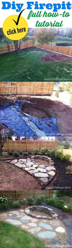 How to build a stacked stone fire pit:: a DIY firepit tutorial. Find more outdoor home improvement ideas at http://www.thediyvillage.com/