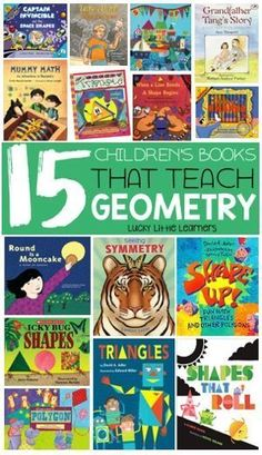 This collection of children's math books that teach geometry and allow the opportunity for children to learn more about and shapes, symmetry, patterns, and more! ~Lucky Little Learners Geometry Book, Teaching Geometry, Geometry Activities, Teaching Reading, Teaching Math, Math Literacy, Literacy Skills, Kids Reading, Reading Lists